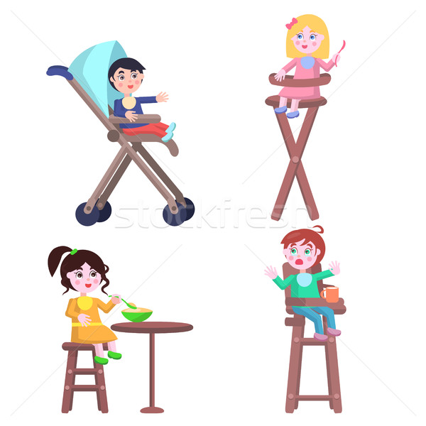 Set of Children Characters. Happy Mother Day Set. Stock photo © robuart