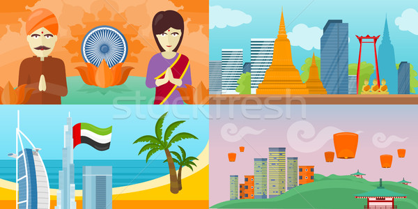 Set of touristic concept vectors in Flat Design  Stock photo © robuart