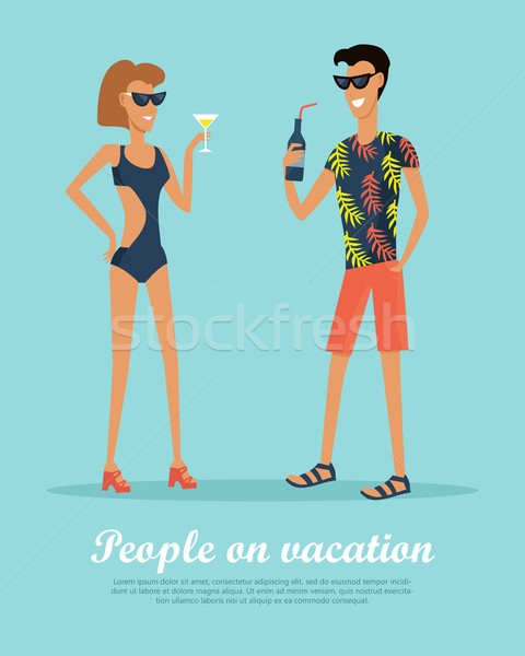 People on Vacation Drinking Cocktails on Rest. Stock photo © robuart