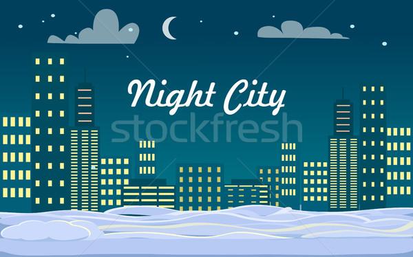 Night City. Buildings. Snow on Ground. Winter. Stock photo © robuart