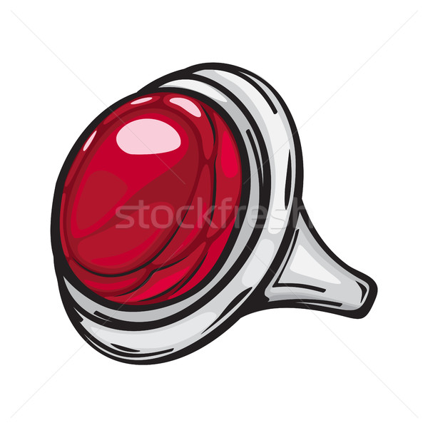 Silver Ring with Big Red Stone Flat Design Web Stock photo © robuart