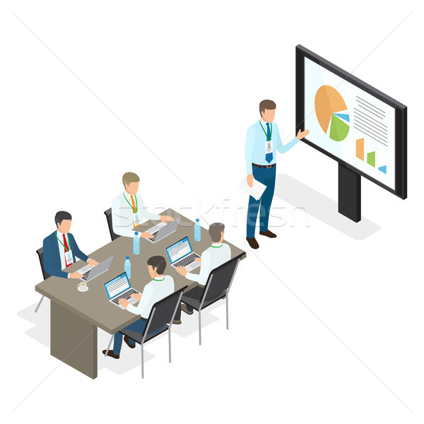 Assembly and Speech of Top Managers Flat Theme Stock photo © robuart
