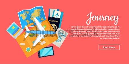 Vakantie stijl vector web banner vliegtuigen Stockfoto © robuart