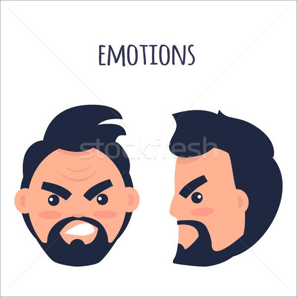 Emozioni arrabbiato uomo faccia isolato illustrazione Foto d'archivio © robuart