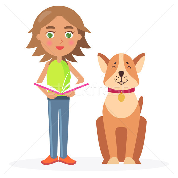 Girl with Short Hair Stands with Dog and Hold Book Stock photo © robuart