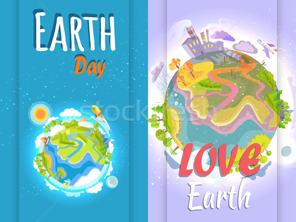 Earth Day Banner of Clean and Polluted Planets Stock photo © robuart