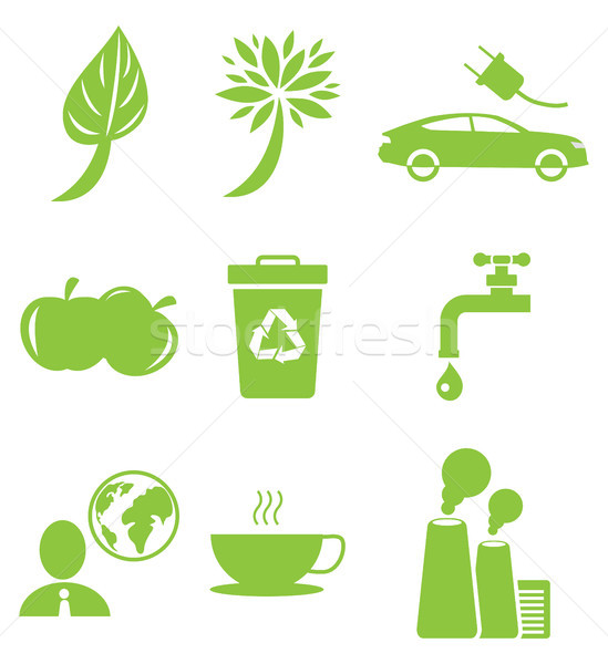 Ecology Green Icons Collection Isolated on White Stock photo © robuart
