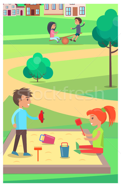 Children Playing with Toys in Sandbox in Park Stock photo © robuart