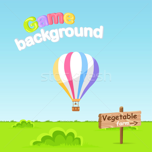 Game Background. Vegetable Farm Sign Board Vector Stock photo © robuart