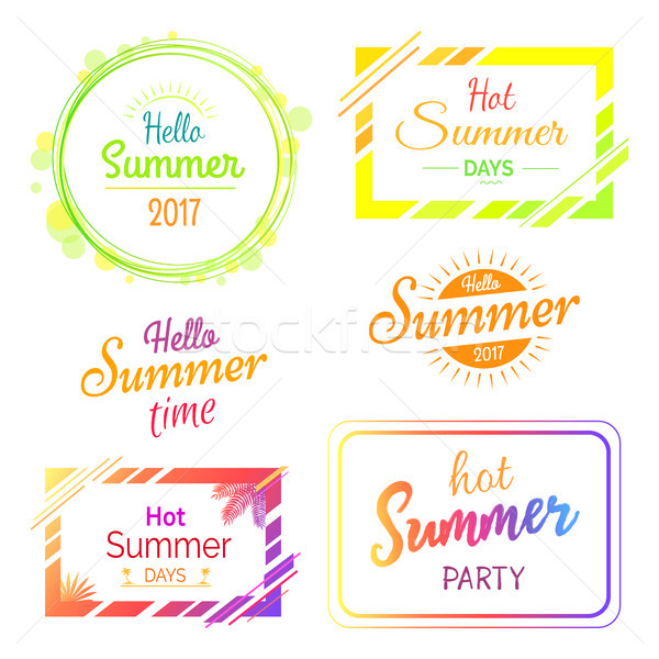 Hello Hot Summer Days and Parties Stickers Set Stock photo © robuart