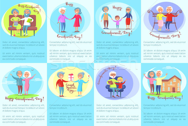 Happy Grandparents Day Posters with Older People Stock photo © robuart
