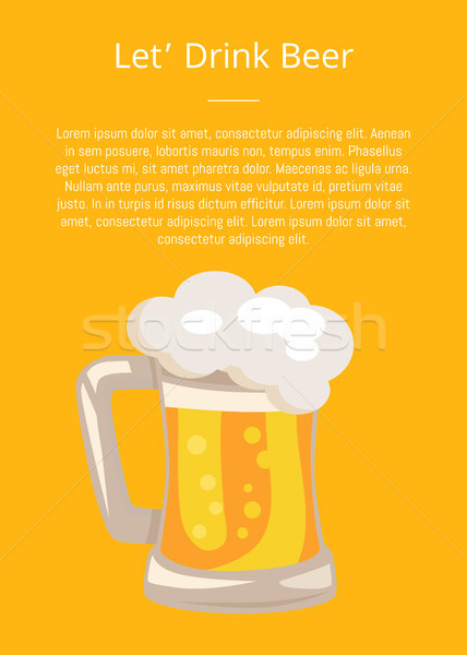 Traditional Glass of Beer with White Foam Vector Stock photo © robuart