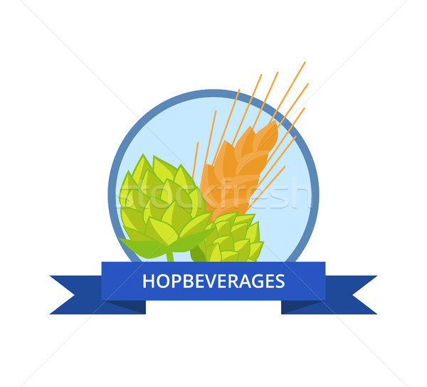 Hop Beverages Logo Golden Wheat Vector Isolated Stock photo © robuart