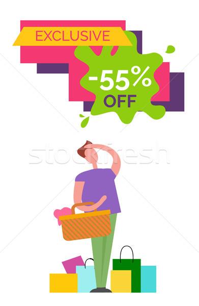 Exklusiv aus Plakat Mann lila Shirt Stock foto © robuart