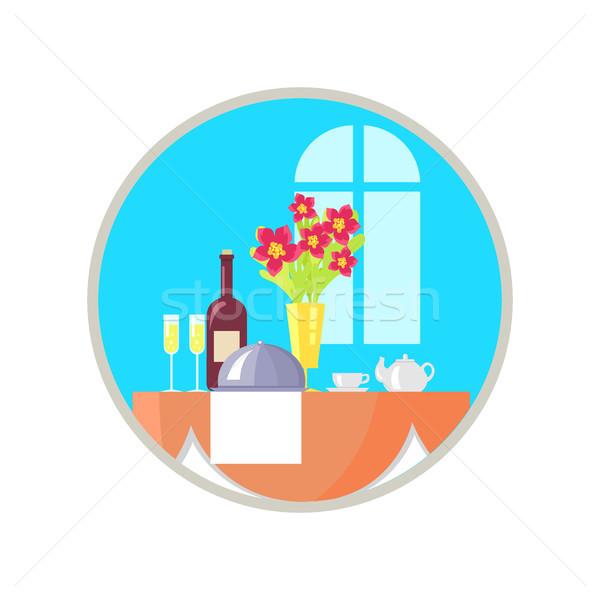 務め レストラン 表 アイコン つる 料理 ストックフォト © robuart