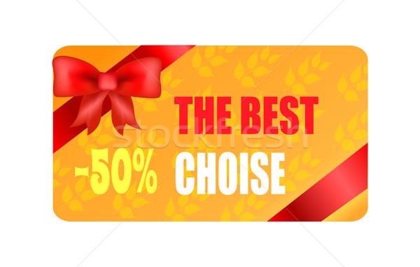 Legjobb választás 50 ősz matrica piros íj Stock fotó © robuart