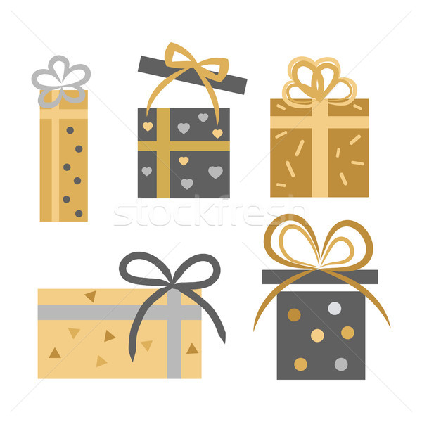 Vintage Collection of Five Gift Boxes on White Stock photo © robuart