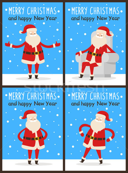 Merry Christmas and Happy New Year Santa Congrats Stock photo © robuart