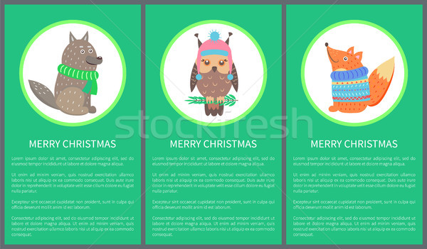 Merry Christmas 60s Postcard Vector Illustration Stock photo © robuart