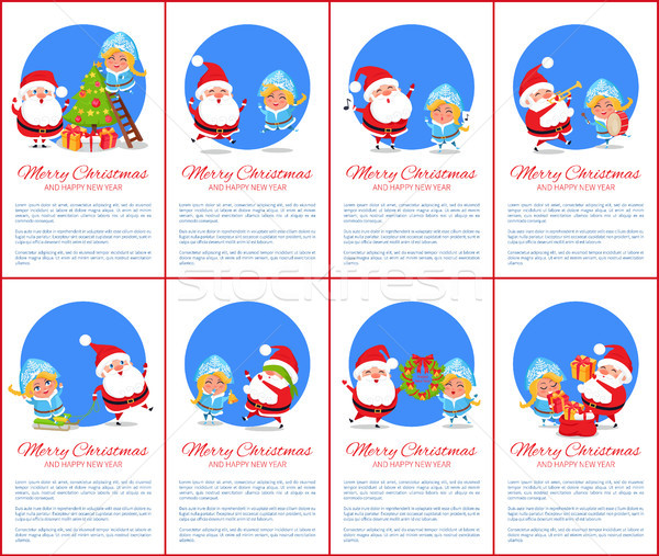 Merry Christmas Poster, Text Vector Illustration Stock photo © robuart
