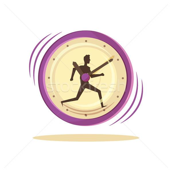 Időbeosztás óra férfi poszter kép fut Stock fotó © robuart