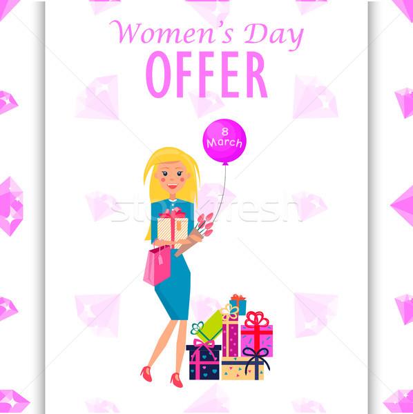 Día de la mujer ofrecer promoción anunciante ilustración mujer Foto stock © robuart