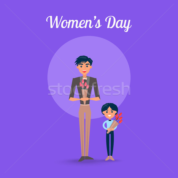 Womens Day Poster with Father and Son Illustration Stock photo © robuart