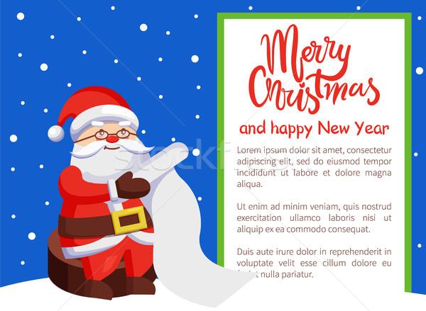 Merry Xmas and Happy New Year Postcard Santa Claus Stock photo © robuart