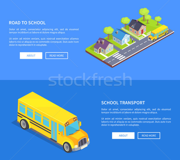 Road to School Through Cottage Town and Yellow Bus Stock photo © robuart