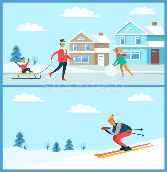 Família esquiador pôsteres coleção criança para baixo Foto stock © robuart