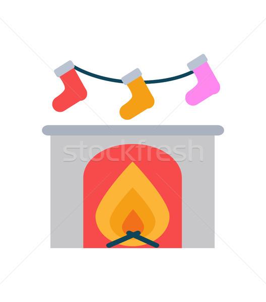 égő kandalló zokni akasztás fölött vektor Stock fotó © robuart