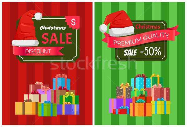 Сток-фото: Рождества · продажи · плакатов · Hat · скидка · Label