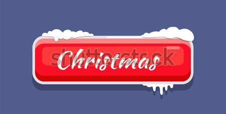 Christmas Web Button Covered with Snow Vector Icon Stock photo © robuart