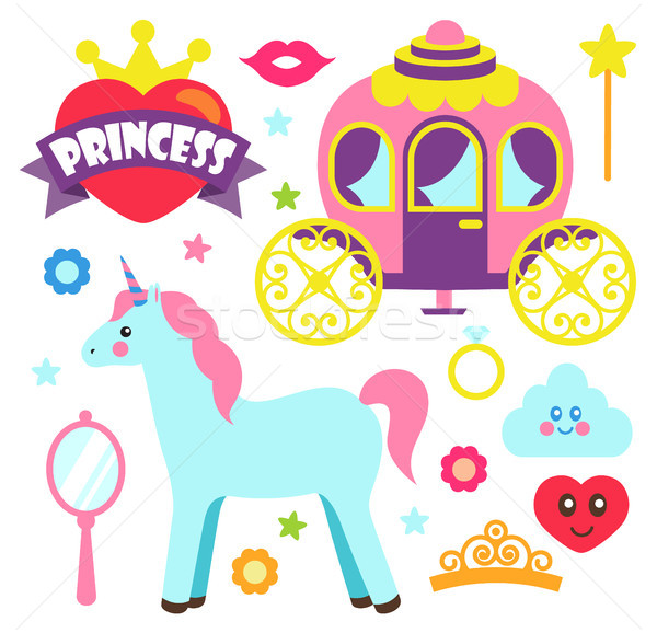 Princess Party Unicorn Poster Vector Illustration Stock photo © robuart