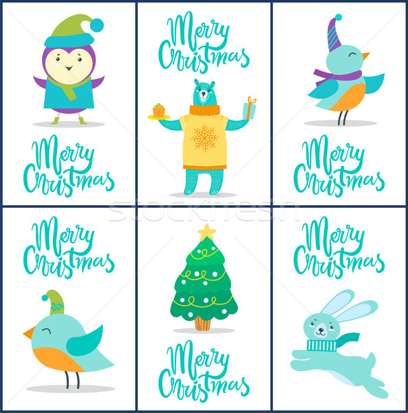 Merry Christmas Cards, Titles Vector Illustration Stock photo © robuart