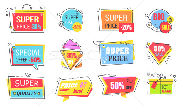 Super Price Reduction Advertisement Emblems Set Stock photo © robuart