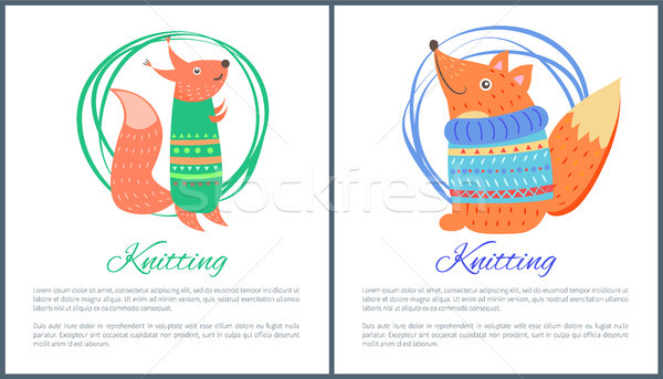 Knitting Sweaters on Funny Toy Fox Squirrel Vector Stock photo © robuart