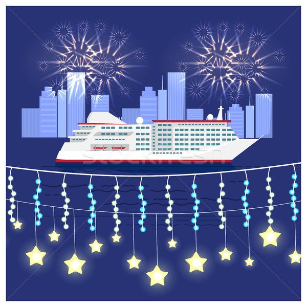 Stockfoto: Festival · cruise · groot · schip · water · vuurwerk