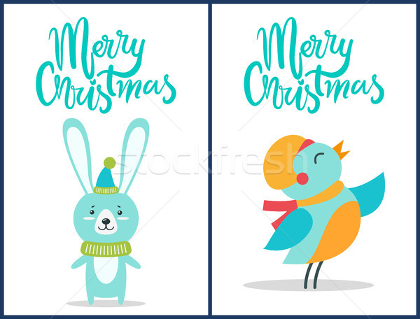 Stok fotoğraf: Neşeli · Noel · kuş · tavşan · ayarlamak · simgeler