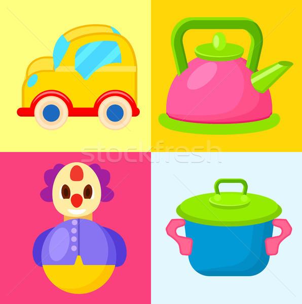 Yellow Car, Pink Pot, Blue Pot and Tumbler Toys Stock photo © robuart