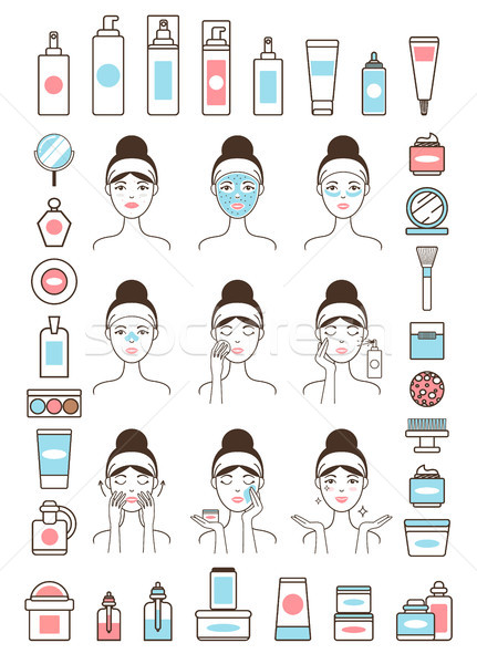 Woman Takes Care of Her Face Skin with Creams Stock photo © robuart
