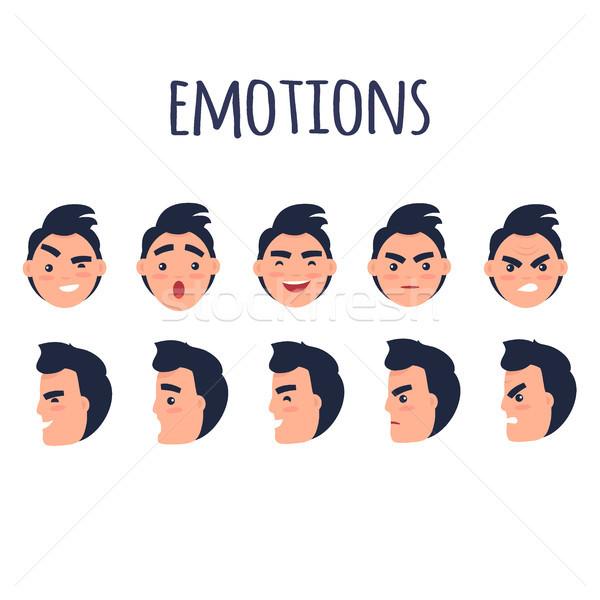 Adam yüzler farklı duygular vektör ayarlamak Stok fotoğraf © robuart