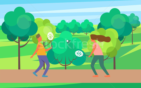 People Playing Badminton Vector Illustration Stock photo © robuart