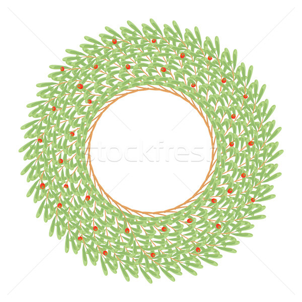 Big Green Wreath Made of Wild Daphne Branches Stock photo © robuart