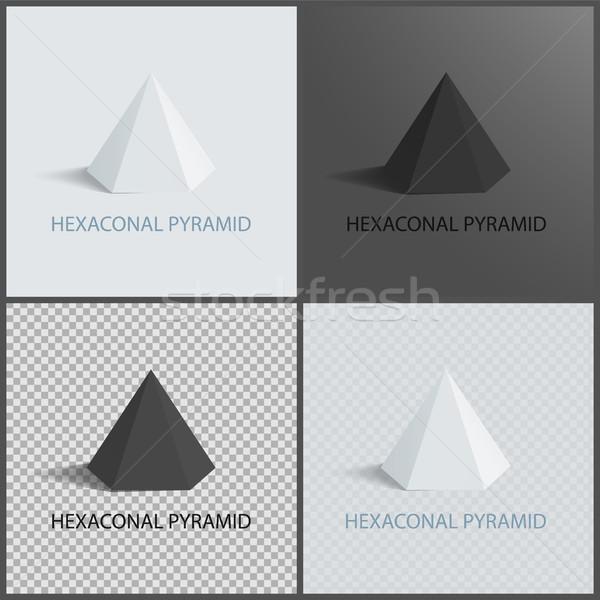 Hexagonal Pyramid on Dark Light and Transparent Stock photo © robuart