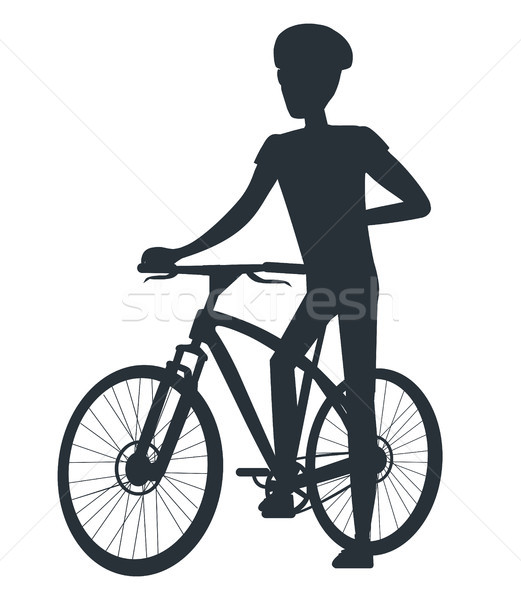 Male in Protective Helmet Standing near Sport Bike Stock photo © robuart
