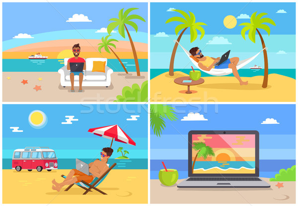 Freelance Work and Summer Rest on Sunny Sea Side Stock photo © robuart