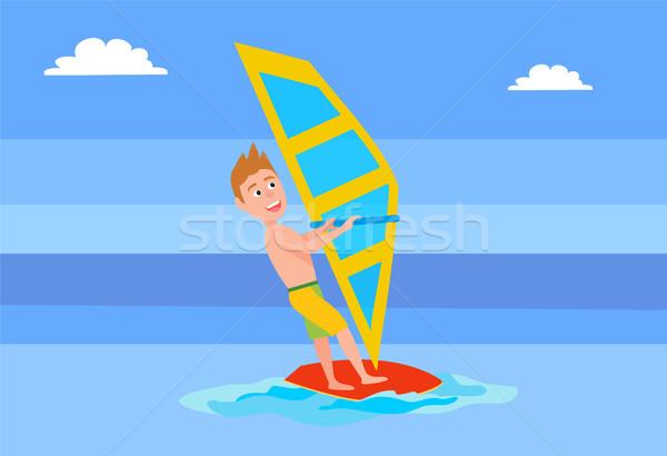 Windsurfing Summer Sport Activity, Male Surfboard Stock photo © robuart