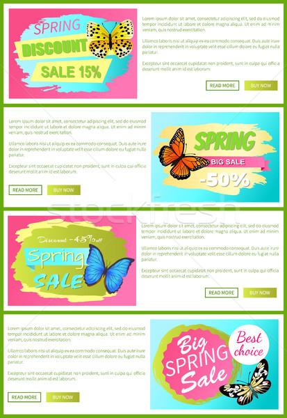 Half prijs voorjaar verkoop af stickers Stockfoto © robuart