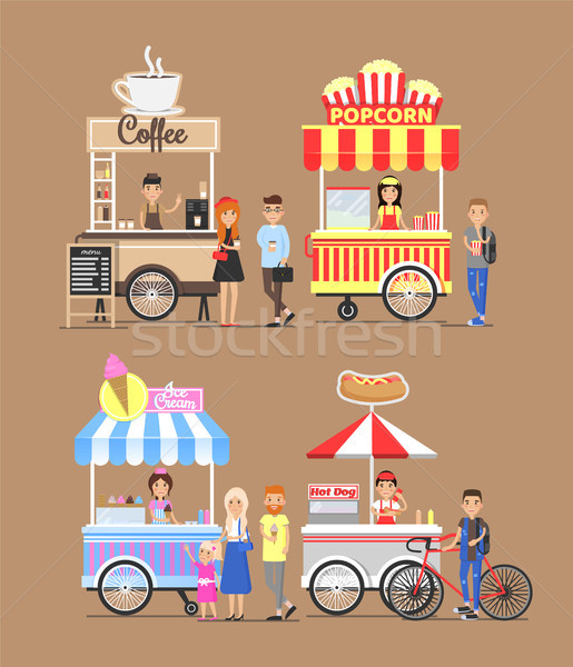 Trolleys with Street Fast Food and Vendors Set Stock photo © robuart